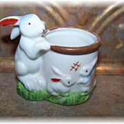 Bunny Mom & Babies Ceramic Egg Cup Japan