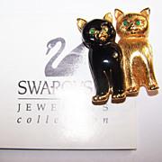 SALE Designer Signed  Swarovski Crystal Rhinestone Kitty Cat Brooch  Pin