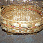 Vintage  Mi'kmaq Native  Hand Woven Basket