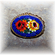 SALE Cheerful Colorful Glass Micro Mosaic Floral Brooch ITALY