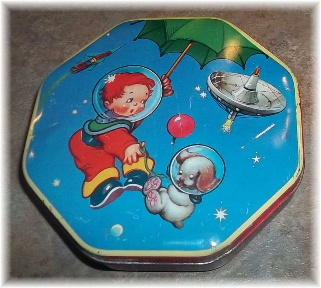 Boy In Space Astronaut  with Puppy Wilkin Cremona  Advertising Tin