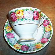 Mixed Roses Floral Tea Cup & Saucer Gladstone  Rosemary