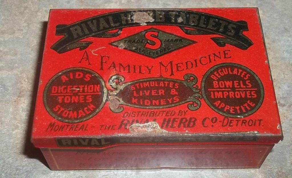 Vintage Medicine Advertising Tin Rival Herb tablets