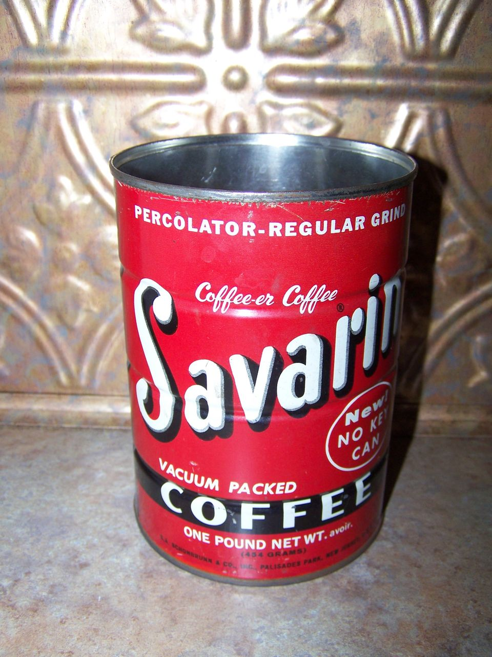 C.1960's Bright Red Advertising Tin Can SAVARIN