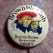SALE Vintage Celluloid Advertising Pinback Pin Buster Brown