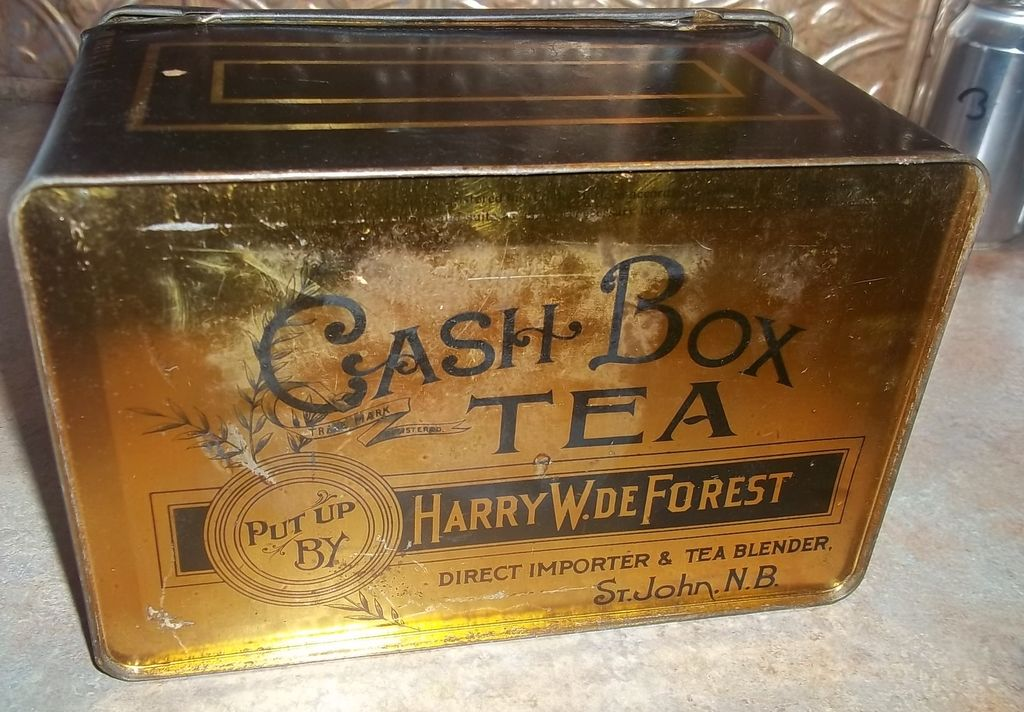 advertising tin chest cash box harry w de forest direct importer tea from victoriasjems on ruby. Black Bedroom Furniture Sets. Home Design Ideas