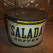 A Simply Wonderful Rare Advertising Tin Coffee Can For SALADA Coffee CAFE