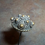 SALE Pretty Vintage Long Brass and Metalware Victorian Era Hat Pin