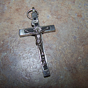 Vintage Skull & Crossbones Ebony Wood Cross Crucifix Germany