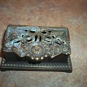 Vintage  Nouveau Style Sunflower & Leaf Brass Stamp Holder Box