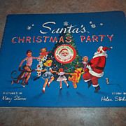 Santa's Christmas Party Pop Up 3 D Book Litho USA . C. 1951
