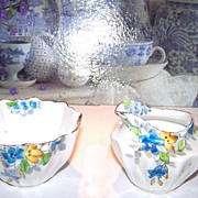 Floral /  Flower Handle Creamer & Sugar Porcelain Displays Well!