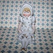 Shelf Sitter  Porcelain Figurine Bonnet Lady  Puppies