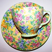 SOLD Sampson Smith Old Royal Bone China Chintz Cup & Saucer
