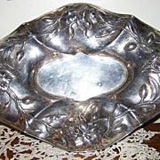 1920's Art Nouveau Quadruple Silver Plate Floral Tray E.G. Webster & Sons