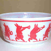 SOLD Vintage Marching Musical  Pig Band Milk Glass Bowl Hazel Atlas