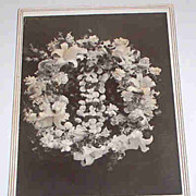 SALE Late1800's B&W Post Mortem Memorial Cabinet Card Photograph Remembrance Funeral Flowers