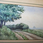 SOLD Lovely Framed Vintage Scenic Watercolor Painting - Red Tag Sale Item