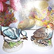 L' Amour China Bird Figurines Blue Jay & Snow Bird