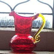 Pretty Orangey Ruby Red Crackle Glass Miniature Pitcher
