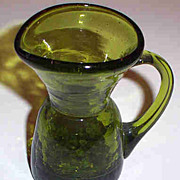 """3 1/2"""" Olive Green Crackle Glass Pitcher"""