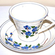 Deco Style Floral Hand Painted Cup & Saucer Artist Signed Greenwich Art Studio