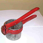 Vintage Handy Things Red Kitchen Ricer / Potato Masher