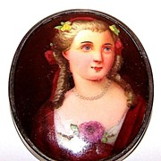 Hand Painted Porcelain Portrait Pin / Brooch Lovely Lady C Clasp