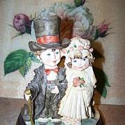 Whimsical Wedding Bride Groom Figurine Art Sculpture Figurine