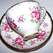 Bone China Roses Floral Tea Cup & Saucer Royal Stafford England