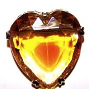 Chunky Faceted Glass Stone Heart Pin / Brooch