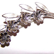 SALE Designer Signed Floral Spray Pin Lovely Quality  Beau Sterling