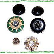 5 Vintage Button Lot Early Plastic, Rhinestone , Glass
