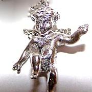 Vintage Figural Sterling Winged Angel / Putti Charm