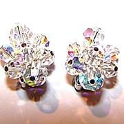 Designed Signed Sherman Aurora Borealis Crystal Bead Earrings