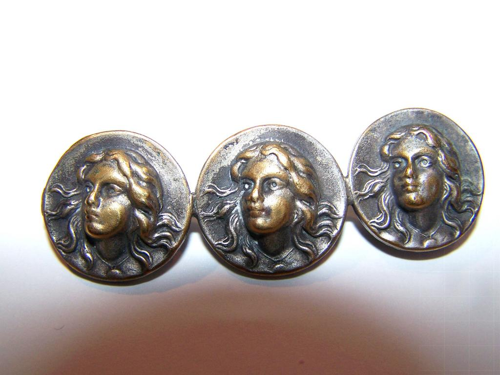 Art Nouveau Era Medallion Portrait  3 Faced Chased Pin Lady Flowing Hair C Clasp