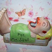 Vintage Novelty Pon My Soul Match Holder Man in Bed