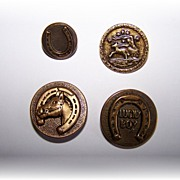 A Vintage Collectible Lot of 4 Horse Related Metal Ware Tin Picture Buttons