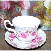 Royal Albert Bone China Roses Motif Tea Cup & Saucer