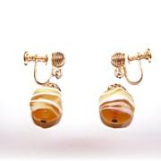 Lemon Swirls Art Glass Screw Style Earrings