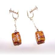 Pretty Swirled  Art Glass Cubed Earrings Dangle Screw Style