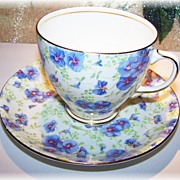 Sampson Smith Old Royal Blue Floral Chintz Tea Cup & Saucer