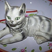 Pretty Porcelain Tabby Kitty Cat Erphila Germany MeOw ~^..^~