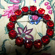 Siam Red Japanned Rhinestone Brooch / Pin