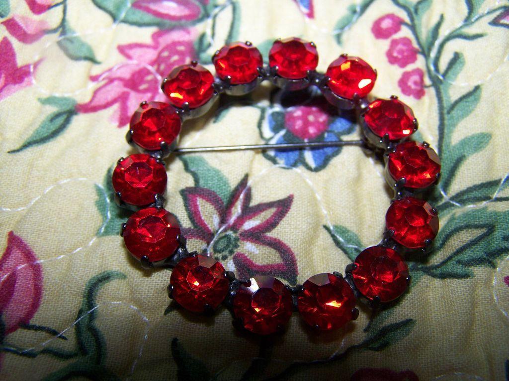 Siam Red Japanned Rhinestone Brooch / Pin