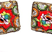Vintage Colorful Micro Mosaic Tesserae of Glass Earrings Floral Motif