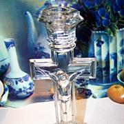 Vintage Glass Cross Crucifix Candlestick