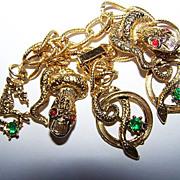 Unique Vintage Snake Charm Bracelet Rhinestone Accents