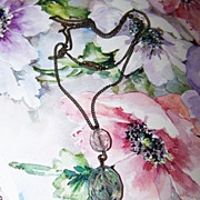 SALE Delicate Vintage Necklace Etched Glass Floral Motif Faux Pearl Grape Cluster