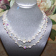 SALE Mid Century Double Stand Faceted Aurora Borealis Crystal Necklace 16""